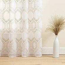 Gardinen für Fenster in Gold und Weiß, 213,4 cm