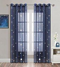 Gardinen für Mädchen für Schlafzimmer, blaue