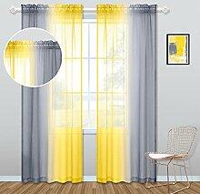 Gardinen für Wohnzimmer, 213 cm lang, Gelb und