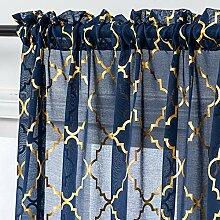 Gardinen in Marineblau und Gold, transparent, 213