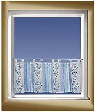Gardinen/Kissen Stick-Schlaufenpann. silber-blau