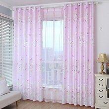 Gardinen, Rosa Garten Vorhang Prinzessin Schlafzimmer Stock Air Curtains Blackout Schatten Vorhang-A 250x270cm(98x106inch)