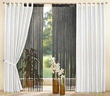 Gardinen Set, 2 x Deko Taft Vorhang, Schlaufen,