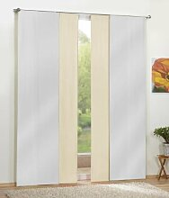 Gardinen Set, 2 x Flächenvorhang Schiebegardine blickdicht, Weiß, 2 x Flächenvorhang Schiebegardine blickdicht, Creme, 8559085590