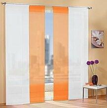 Gardinen Set, 2 x Flächenvorhang Schiebegardine mit Zubehör, Weiß, 2 x Flächenvorhang Schiebegardine mit Zubehör, Orange, 8558985589