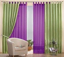 Gardinen Set, 2 x Gestreifter Deko Taft Vorhang, 245x140, Apfelgrün, 2 x Schlaufenschal Voile, transparent, 245x140, Lila, 0393061000