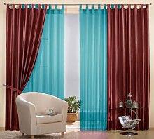 Gardinen Set, 2 x Gestreifter Deko Taft Vorhang, 245x140, Bordeaux, 2 x Schlaufenschal Voile, transparent, 245x140, Türkis, 0393061000
