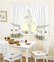 Gardinen-Set Äpfel und Birnen mit Kräuselband