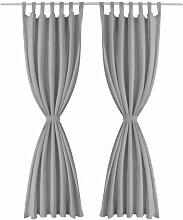 Gardinen-Set Bachar mit Schlaufen, halbtransparent