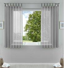 Gardinen-Set Claremore mit Schlaufen, transparent