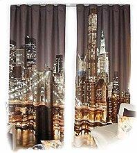 Gardinen -Set New York City modern 3 D Effekt