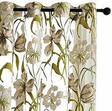 Gardinen Tropische Blumen Semi Sheer Vorhänge