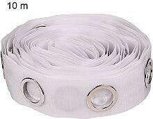 Gardinenband mit Ösen, 5/10 m, Weiß 10 m weiß