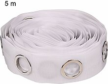 Gardinenband mit Ösen, 5/10 m, Weiß 5 m weiß