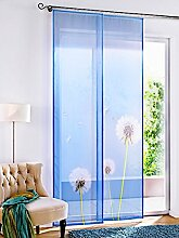 Gardinenbox.eu Schiebevorhang, mit Klettband, Farbe Blau, Motiv Pusteblume, transparenter Stoff, inkl. Montageanleitung und Zubehör, Waschbar, Maße HxB 245x60 cm