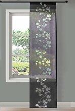 Gardinenbox Moderner Flächenvorhang Schiebegardine aus hochwertigem Ausbrenner-Stoff mit Klettband, Schwarz Leaf, 1 Stück 245x60 (HxB), 856100