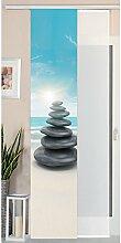 Gardinenbox Schiebegardine Flächenvorhang Wildseide Optik und Voile Paneel, Polyester, Stein Meer, 245 x 45 cm, 2-Einheiten
