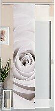 Gardinenbox Schiebegardine Flächenvorhang Wildseide Optik und Voile Paneel, Polyester, Rose, 245 x 45 cm, 2-Einheiten