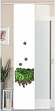Gardinenbox Schiebegardine Flächenvorhang Wildseide Optik und Voile Paneel, Polyester, Pixel, 245 x 45 cm, 2-Einheiten