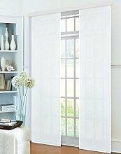 Gardinenbox Schiebevorhang Flächenvorhang Mikrofaser Blickdicht matt 245x60, Weiß