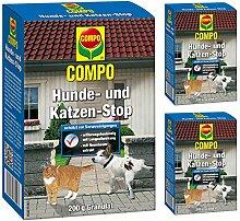 GARDOPIA Sparpaket: 3 x 200 g COMPO Hunde- und Katzen-Stop Vergrämungs- Abwehrmittel + Gardopia Zeckenzange mit Lupe