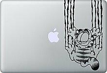 GARFIELD Hang Aufkleber Macbook Air Pro Sticker Decal Apple (Schwarz)