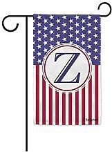 Garten Banner,Us Flagge Dekorative Monogramm Z