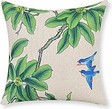 Garten Blume Baumwolle Kissen Chinesische Vogel und Blume Taille Kissen Büro-Kissen-F 45x45cm(18x18inch)VersionB