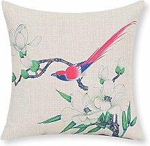 Garten Blume Baumwolle Kissen Chinesische Vogel und Blume Taille Kissen Büro-Kissen-B 60x60cm(24x24inch)VersionA