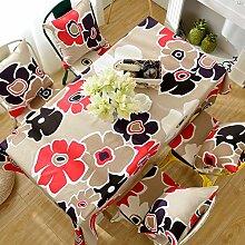 Garten Blume Baumwolle Leinen Tuch,Tisch Matte Rechteckige Tabelle Tuch,Wohnzimmer Mit Kleinen Frischen Tuch-A 90x135cm(35x53inch)