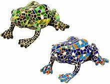Garten Deko 2 Figuren Mosaik Frosch 1x Grün & 1x Blau