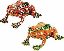 Garten Deko 2 Figuren Mosaik Frosch 1x Rot & 1x Gelb
