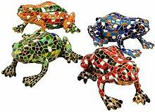 Garten Deko 4 Figuren Mosaik Frosch Grün, Blau, Rot und Gelb