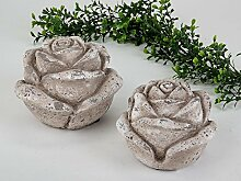 Garten Deko Blumen, 2-teiliges Set, 16 und 13 cm,