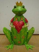 Garten-Deko Deko-Frosch Frosch-König Frosch mit Herz Metall bemal