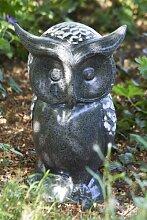 Garten-Deko Figur Eule aus Polystone · grau/weiß Höhe 40,5 cm · Breite 24 cm outdoorgeeigne