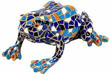 Garten Deko Figur Mosaik Frosch in Blau