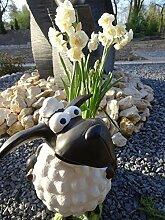 Garten Deko Figur Schaf Molly Dekofigur Gartenfigur Statue Schaf mit Pflanztopf XL 45 cm frostfest handbemalt – Dekoschaf mit Pflanzgefäß – wetter- und frostfeste Markenqualitä