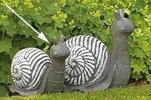 Garten-Deko Figur Schnecke aus Poly · grau/weiß
