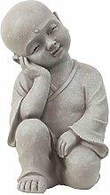 Garten Deko Figur Shaolin Mönch Buddha Denkend