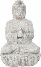 Garten Deko Figur Terracotta/ Ton Kleiner Betender Buddah in Grau 17cm Hoch