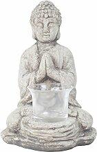 Garten Deko Figur Terracotta/ Ton Kleiner Betender BuddahTeelichthalter in Grau 18cm Hoch