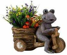 Garten Deko Frosch mit Motorrad Pflanzmotorrad