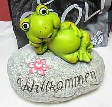 Garten Deko Frosch, Willkommen Froschfigur,Dekoration,Gartendeko,Gartenfrosch,Dekofigur