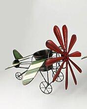 Garten Deko Metall Flugzeug mit Pott für Blume Blumentopfhalter