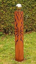 Garten Deko Rost Säule 100 cm mit Edelstahlkugel*
