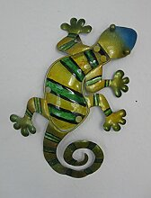 Garten Deko Salamander grün-gelb Wanddeko Gartendeko Wand