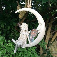 """Garten-Dekoration """"Waldfee mit Sichelmond"""", Art-Deco, 15cm, Weiß"""