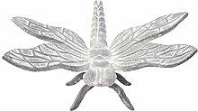 Garten Figur Große Libelle aus Gusseisen in Antik Grau