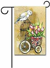 Garten Flagge,Anary Vogel Auf Vogelkäfig Mit